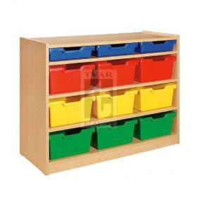 Skříňka se 3 vloženými policemi a 12 plastovými zásuvkami