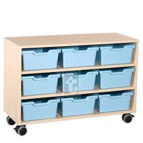 Skříňka se 2 vloženými policemi a 9 plastovými zásuvkami