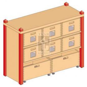 Skříňka se 1 vloženou policí a 8 volnými zásuvkami varianta 2