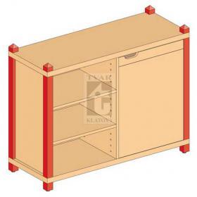 Skříňka kombinovaná jednodveřová se 4 vlož. policemi